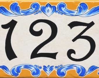 House number, house number plaque, ceramic house number sign, hand painted Italian house numbers, Porcelain house numbers, tile house number
