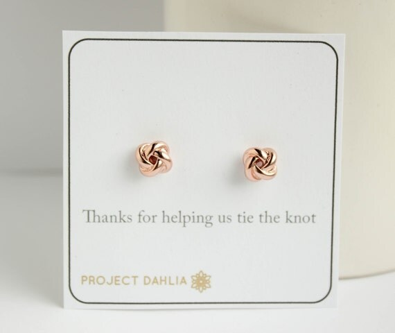 The Knot Wedding Gift List : Tie the Knot jewelry Knot Earrings Bridesmaid by PROJECTDAHLIA
