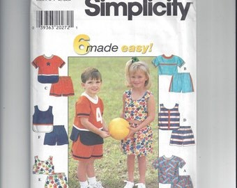 Simplicity 7620 Pattern for Child's Tops and Shorts, 6 Made Easy, Sizes 3, 4, 5, 6, From 1997, Girls and Boys Summer Outfit Pattern