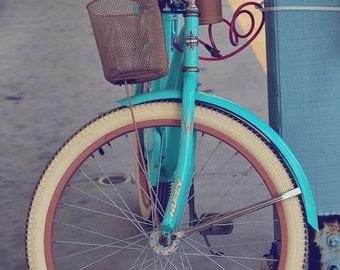 beach photography, beach bicycles, aqua, rustic decor, cottage decor, huffy, vintage bicycle, port aransas, - Beach Bicycle
