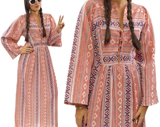 Vintage 70s S277 Hippie Boho Prairie Maxi Dress