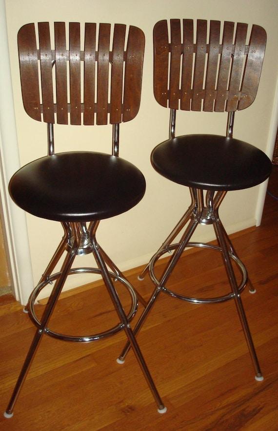Pair Vintage Swivel Wood Slat Bar Stools Arthur Umanoff Era