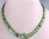 Signed Vintage MEXICO 950 Silver TURQUOISE and Gaspeite NECKLACE, Modernist Inlay