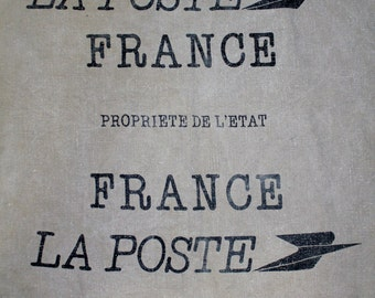 Vintage French Postal Mail Bag/Sac -  LA POSTE FRANCE Propriete De L'Etat - Deren 76360 Barentin
