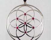 Sacred Geometry, Sterling Silver Seed of Life Pendant with Rubies - Extra Large