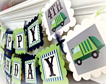 PARTY PACK SPECIAL - Garbage Truck Birthday Collection - Navy Stripes Lime Green Chevron with grey accents