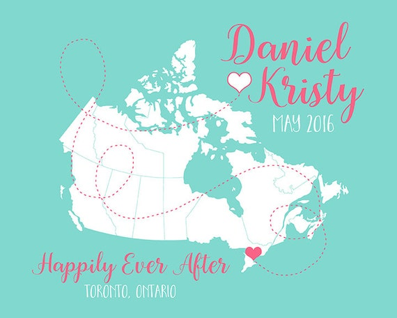 Unique Wedding Gifts Ontario : Ontario, Canada Map, Personalized Engagement Gift, Canadian Wedding ...