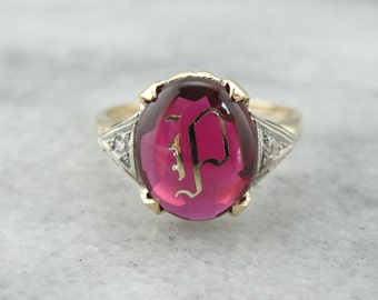 "Vintage 1930's Synthetic Ruby ""P"" Monogram Ring LNXMX3-P"