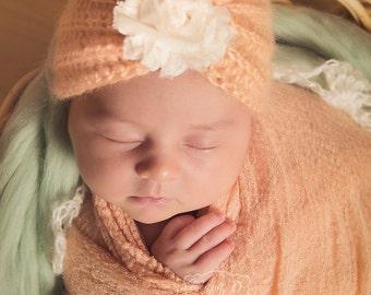 Newborn Turban Hat - Peach, Pink and Yellow Available - Crochet Newborn Photography Prop