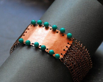 Copper and turquoise statement bracelet, Unique mixed metal Tribal jewelry, Artisan bohemian jewelry, Gemstone bracelet for Women, 0157