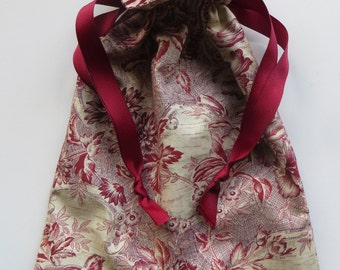 Red Floral Lined Drawstring Fabric Gift Bag BIRD