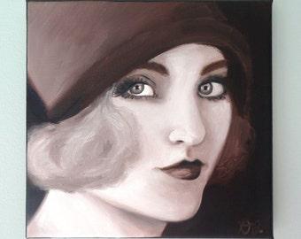 Vintage fashion portrait of woman in hat sepia fashion illustration beautiful face original art oil painting 1920s flapper glamorous art