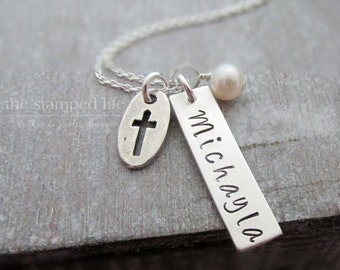 Personalized Necklace, Bar Charm, Personalized charm, Hand Stamped Jewelry, Cross Charm