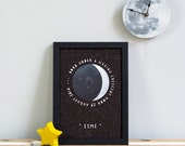 PERSONALISED MOON PHASE Illustrations Print. New Baby Birth Date First Birthday Wall Art Gift Children's Bedroom Picture Fathers Day Gift Uk