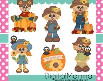 Happy Fall Ya'll, Autumn, Scarecrow Clipart, Personal & Commercial Use, Instant Download!