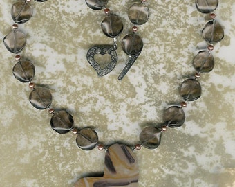 Heart of Stone -  Bamboo Stone, Smoky Quartz, Freshwater Pearls, Sterling Silver Necklace