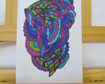Original Hand Drawn Card, Pattern Art Card, 5 x 7 Abstract Psychedelic Art Greetings Card, Birthday Card, Anniversary Card, Fatassdesigns