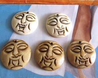 Moon Face Pendants, Ethnic Carved Bone Moon Charm, Tribal Bone Sun Face Cabachon, White Bone Face Charm, Tea Stained Bone Face Pendant, 5 Pc