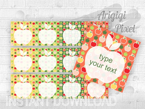 Type Your Text Lunch Box Notes, editable square label with apples, school labels, printable note cards download