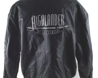 90s Highlander 10th Anniversary Official Black Leather Vintage Jacket XL