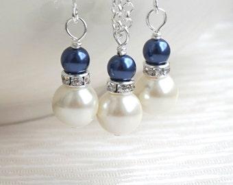 Navy Blue Ivory Swarovski Jewelry Set, Bridesmaid Jewelry Set, Navy Bridesmaid Gift Ivory Bridesmaid Jewelry Set Flower Girl Wedding Jewelry
