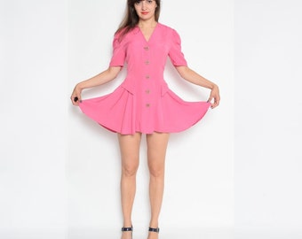 Vintage 80's Pink Full Circle Blouse Dress