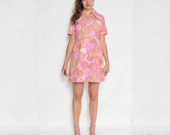 Vintage 70's Pink Floral Mini Dress