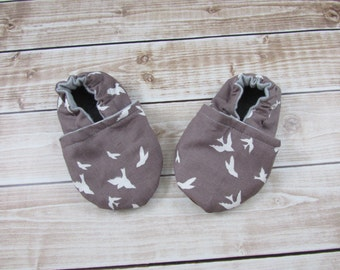 Flight 2 Baby Shoes, Flight 2 Kinderpack Accessories, Brown White Birds Toddler shoes, Soft Soled Shoes,  Custom Made, Made to Order
