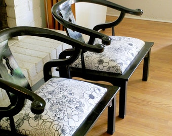 Hollywood Regency Mid Century Modern Asian-Inspired Black Lacquered Club Chairs James Mont Originals Art Deco Seating 1930's