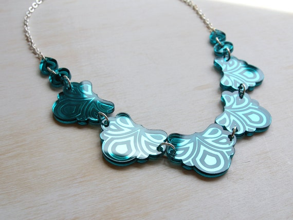 NEW: Psychedelic Floral Necklace. Laser-Cut & Engraved Mirror Acrylic Flowers - Turquoise Teal Mirrored Perspex - Shiny Festival Sparkle