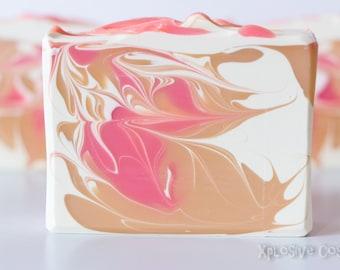 Mango Sorbet Soap - Handmade Soap, Coconut Milk, Shea butter, Cold Process Soap, Vegan Soap,  5.1 oz.