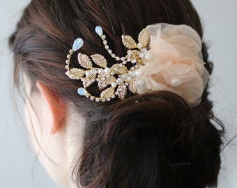 Dainty Soft Peach Flower with Golden Leaf Bridal Wedding Hair Comb
