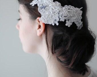 Hand Beaded Brilliant Diamond White Lace Bridal Headpiece Hair Clip