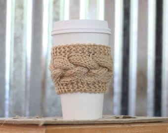 Beige Cable Knit Coffee Cozy w/Wood Button/ Tea Cozy/ Cup Cozy/ Coffee Cover/ Coffee Sleeve/ Latte Cozy
