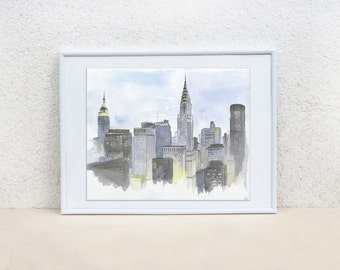 New York city. New York painting. NYC painting. Watercolor painting. Urban sketch. Cityscape. Original. 8x10