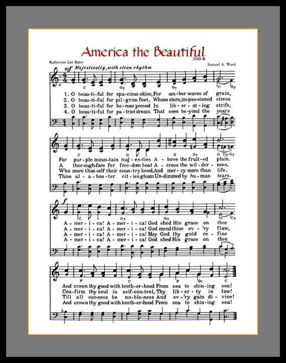Dynamite image intended for america the beautiful lyrics printable