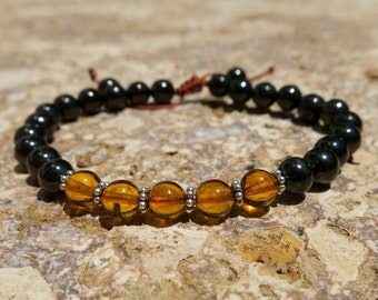 Baltic Amber and Jet lignite 6mm 27 bead Mala with Sterling Silver - Rebalancing Healing Stability - Adjustable prayer beads, Tibetan mala