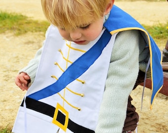 Kid's Prince Charming Dress Up Costume, 100% cotton, Handmade, Fairytale, Fancy dress, Party, Birthday, Boy, Cape, Blue, White, 1-10 years