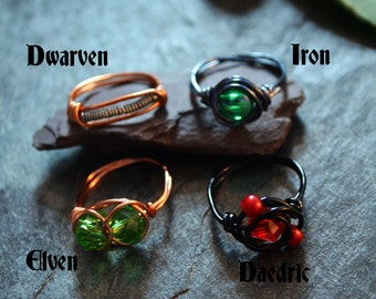 SALE Skyrim themed  wire wrapped rings - Dwarven, Iron, Elven and Daedric