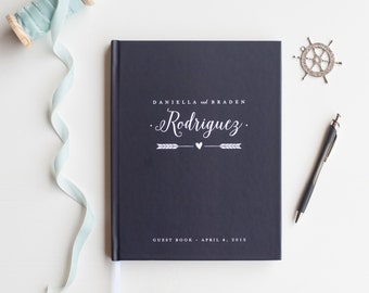 Navy Wedding Guest Book Wedding Guestbook Custom Guest Book Personalized Customized rustic wedding keepsake wedding gift guestbook nautical