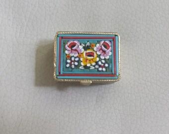 Beautiful Italian Mosaic Pill Box with flower design