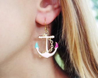 Pink and gold anchor earrings. Big, simple dangle anchor earrings. Pink, berry and teal anchors.