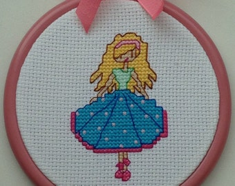 Little Girl in a spotty skirt original cross stitch hoop wall art