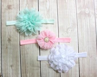 Baby Headbands, Headband Gift Set, Mint headband, Pink headband, White headband , Flower Headband Set, Infant Headbands