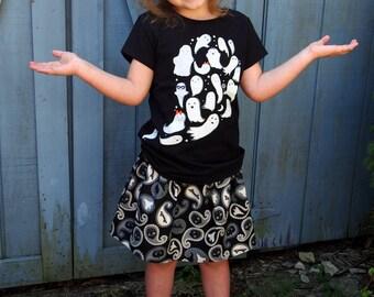 Halloween Skirt - Ghost Skirt - Black and White Halloween Skirt - Halloween Bat Skirt - Halloween Skull Skirt - Kids Halloween Skirt