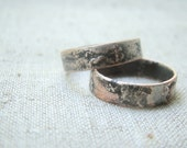 Rustic Silver copper Wedding Band Set, Matching Wedding Band Rings, Commitment Rings