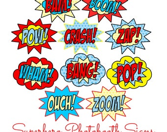 10 pc * LARGE Superhero Party Speech Bubble Signs - DIGITAL FILE