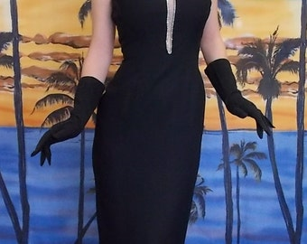Vintage 1950's Black and Diamond Marilyn Monroe Evening Gown Sz Small