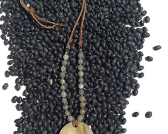 Mother of Pearl and Labradorite on Suede Necklace Boho Style All Natural One of Kind