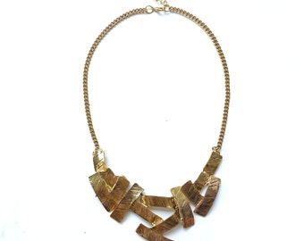 Gold bib necklace statement, big bold chunky necklace